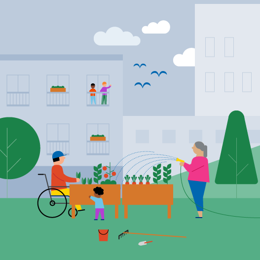 Illustration of a person watering a garden and a person tending the garden and a little person hanging out with them with buildings in the background.