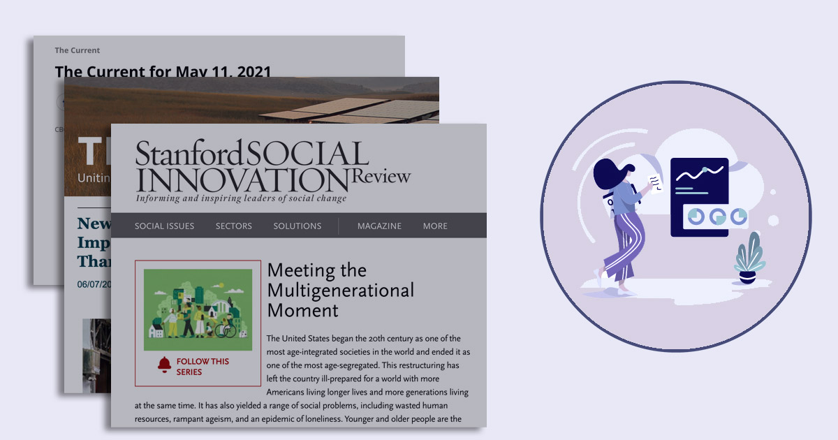 A few article headlines float in the foreground about various issues surrounding social connectedness.